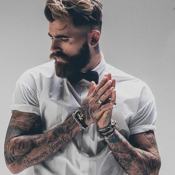 Men with tattoo & Beard ready for office attire