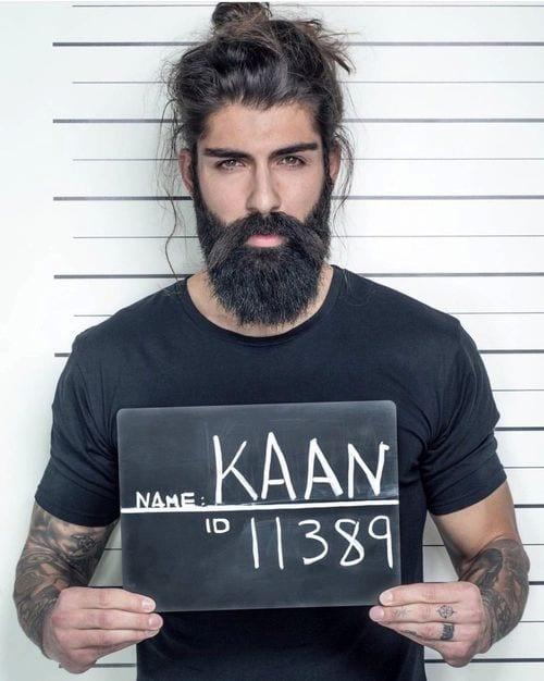 Bearded man with hairbun