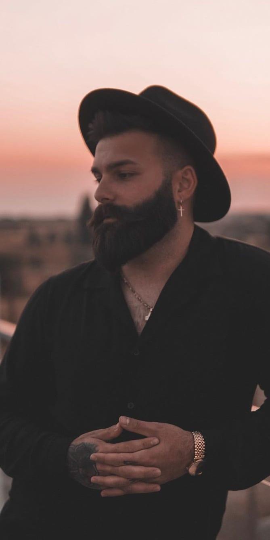 Black dark thick beard style for men