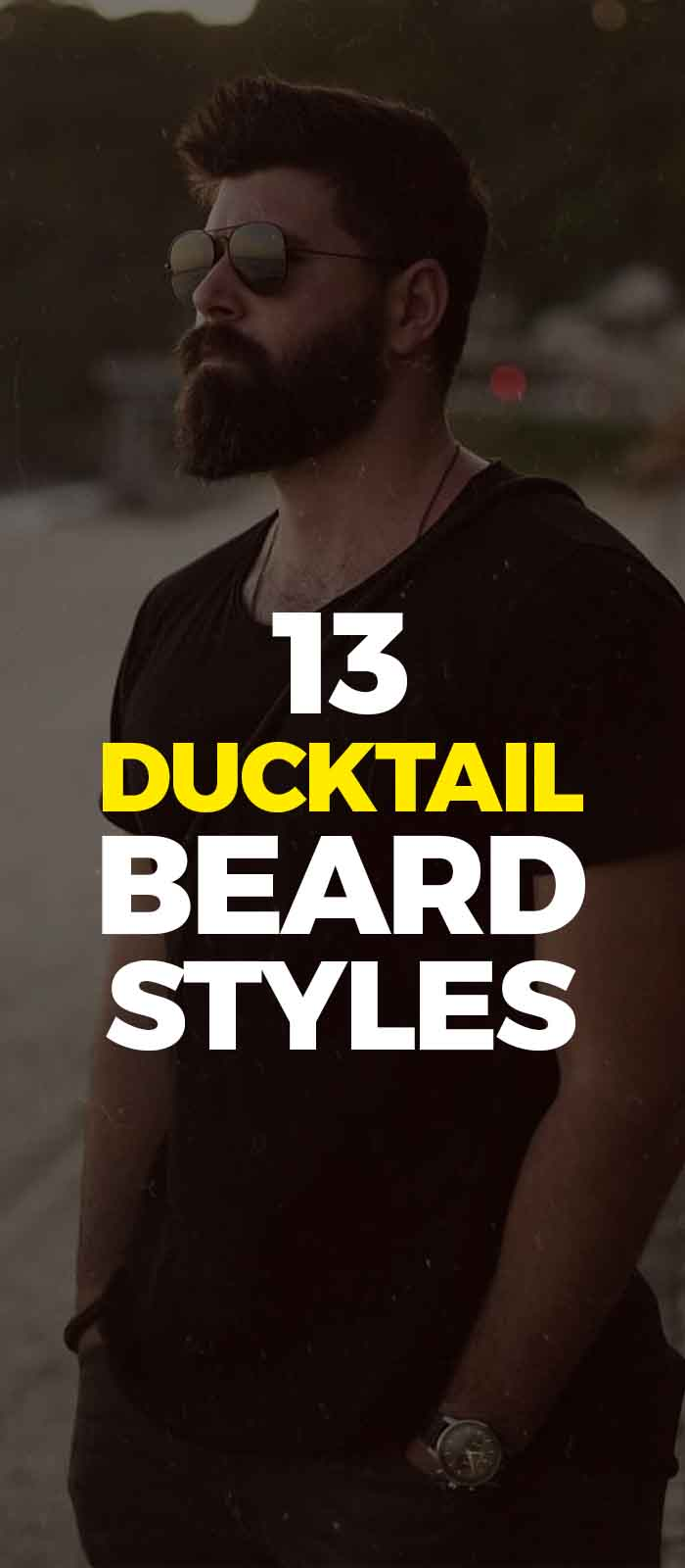 Black shirt,pant and glasses with Ducktail beard look!