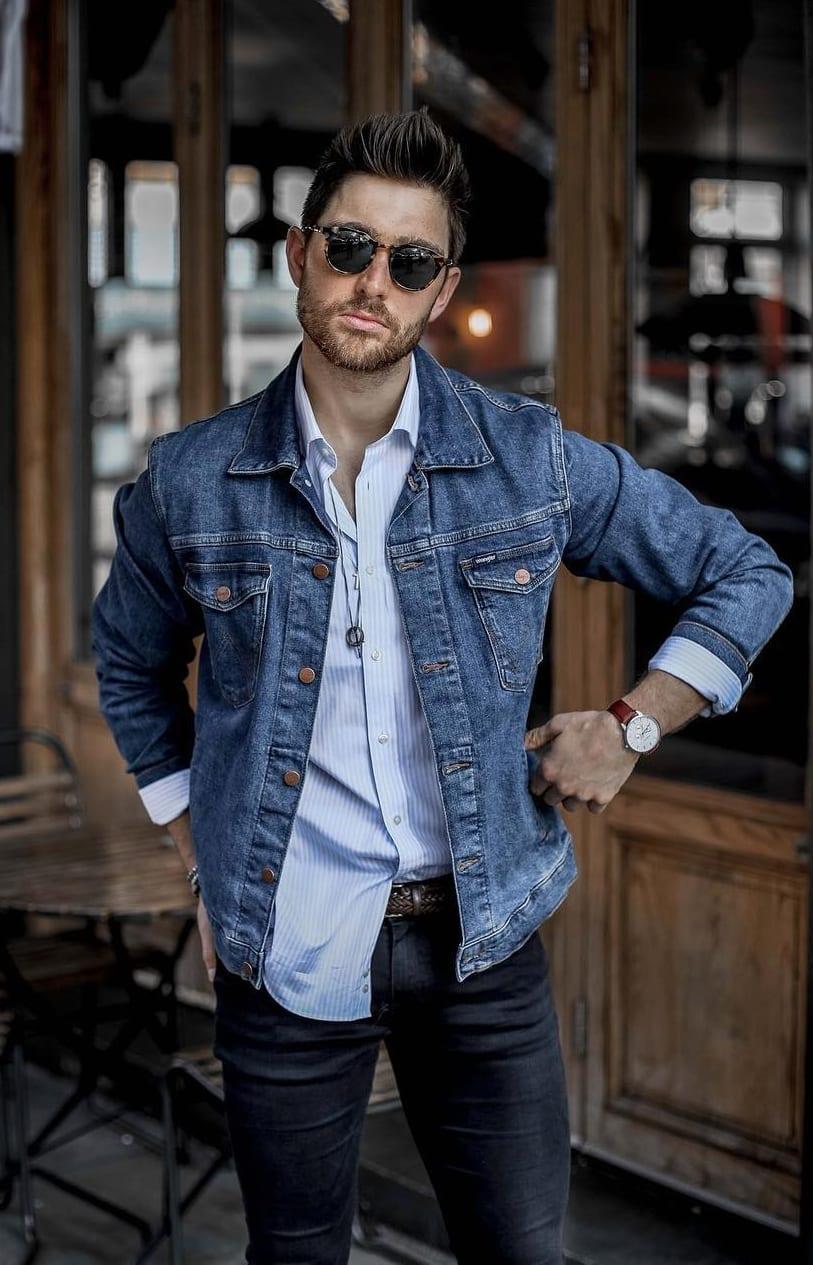 Blue Denim jacket,Blue shirt look,Perfect short beard for men