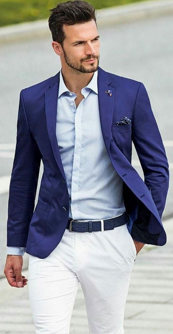Blue jacket suit look for the short beard style