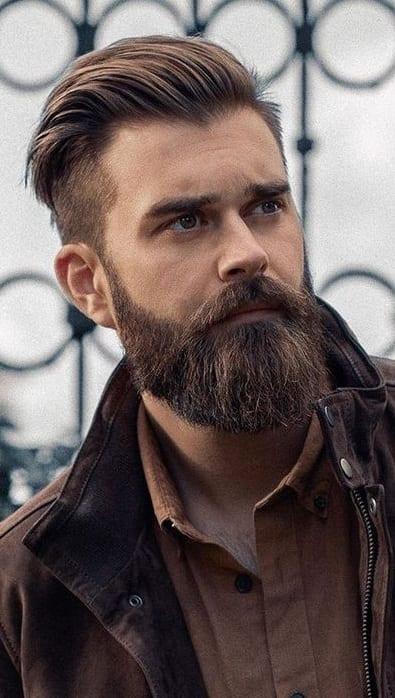 Brown Jacket Ducktail Beard