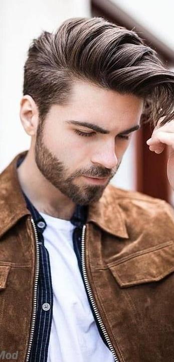 Brown Jacket Look For men With Medium Stubble Beard