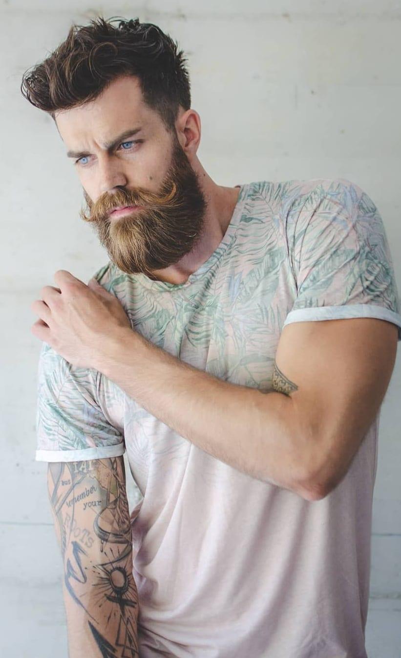 Brown Thick long beard for men