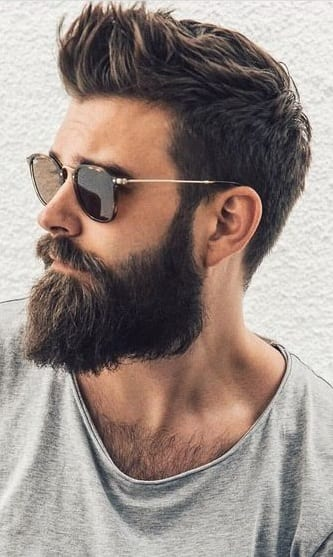 Ducktail Beard Rugged Look with Sunglasses