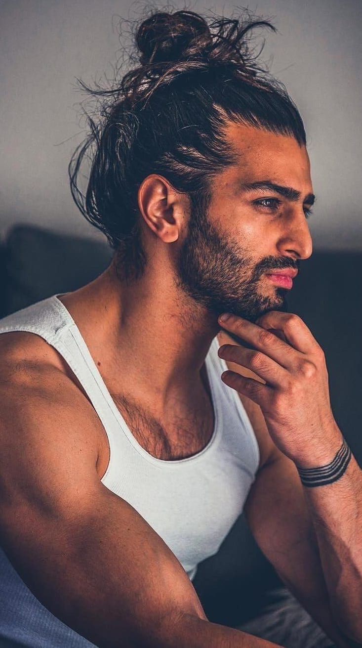 Full Man Bun Ponytail with sexy beard for men