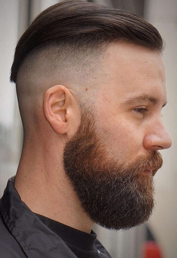 Full beard for short hairstyle look