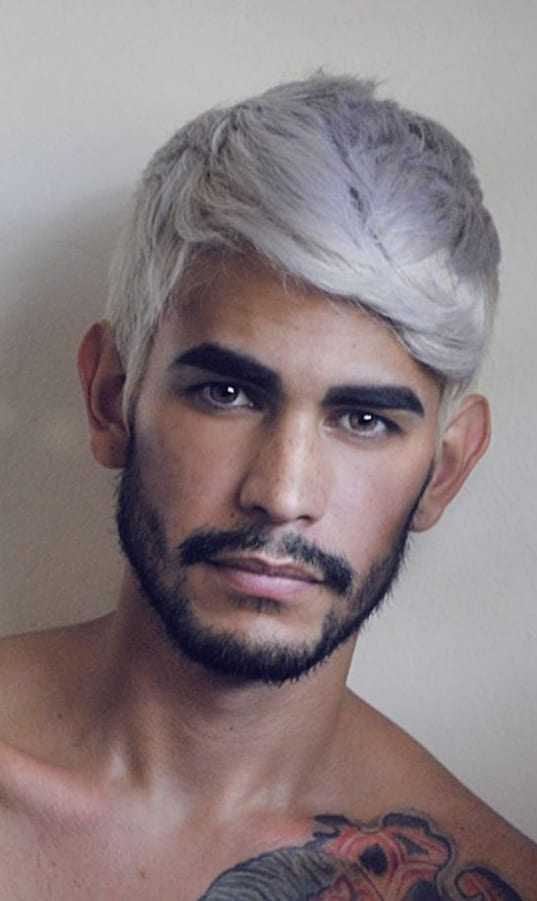 Funky haircolor and Beard look for men