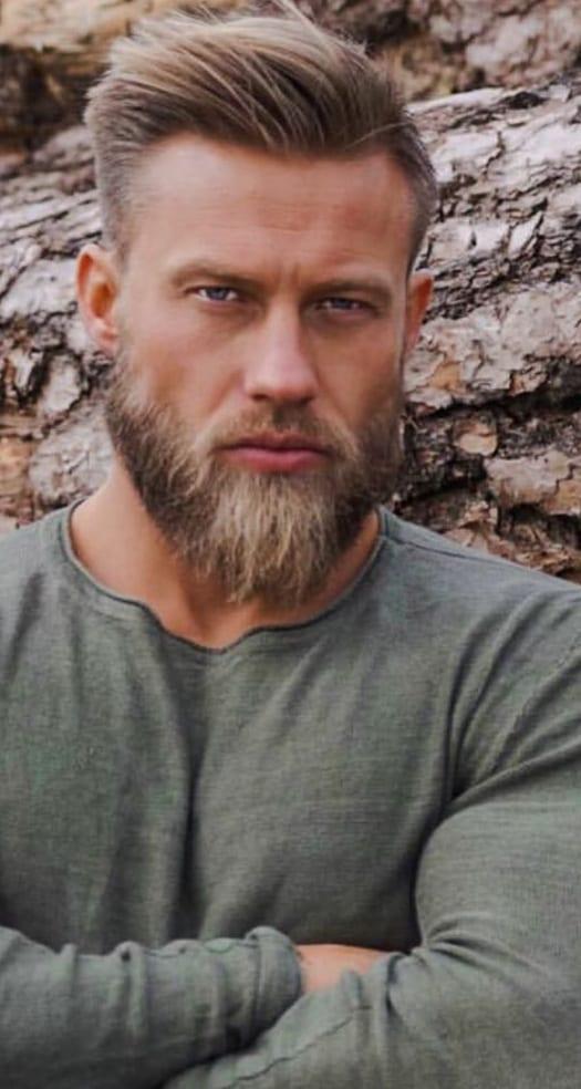 Grey T-shirt,extended goatee beard style for men