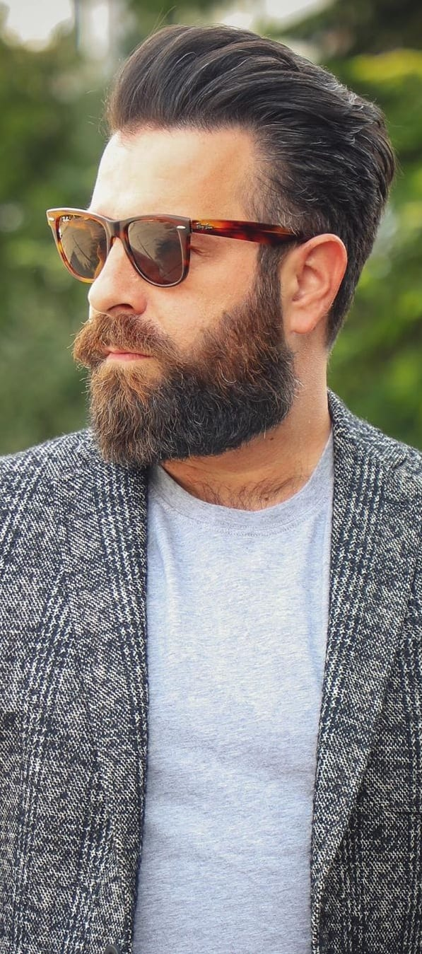 Grey jacket,Sunglasses and Classic Full Beard Look for men