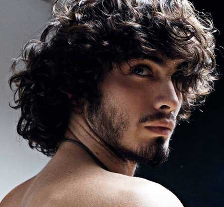 Long Curly Hairstyle with short beard for men