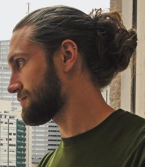 Man Bun with beard for men