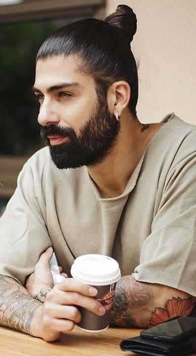Man bun with Thick Beard for men