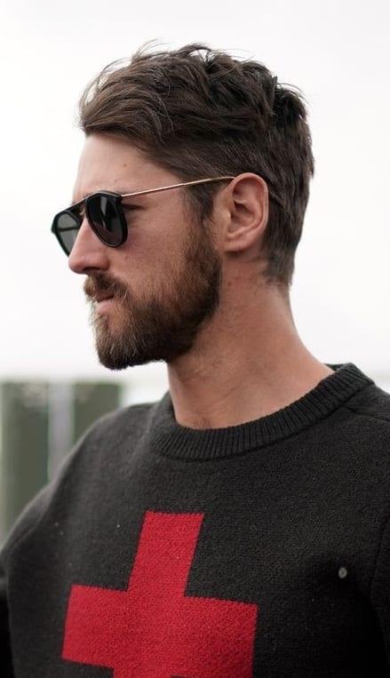 Medium Stubble beard styling for men