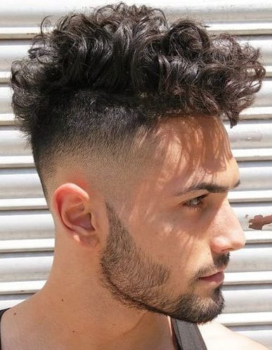 Messy Curly Hairstyle with beard for men
