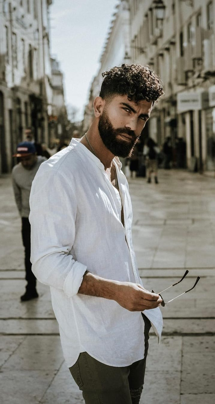 Messy Curly Hair With Thick Beard ideas for men