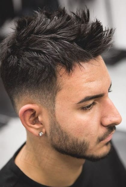 One layered Faux Hawk haircut for men with beard