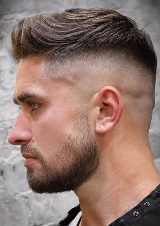 Short Faux With Fade and Beard look for men