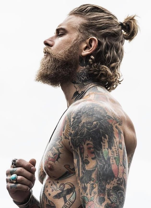 Short Ponytail With beard for men