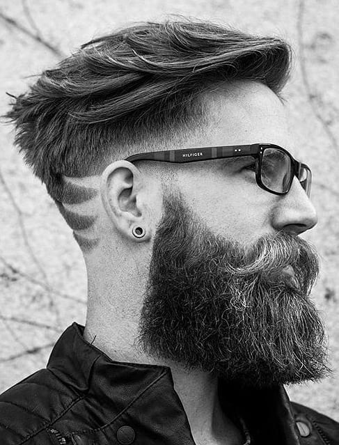 Sidecut Pompadour Hairstyle for men with long beard