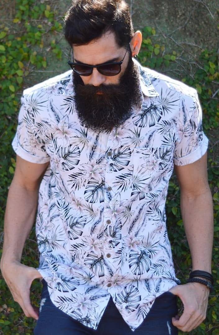 White Printed shirt,Long Beard, Sunglasses look for men