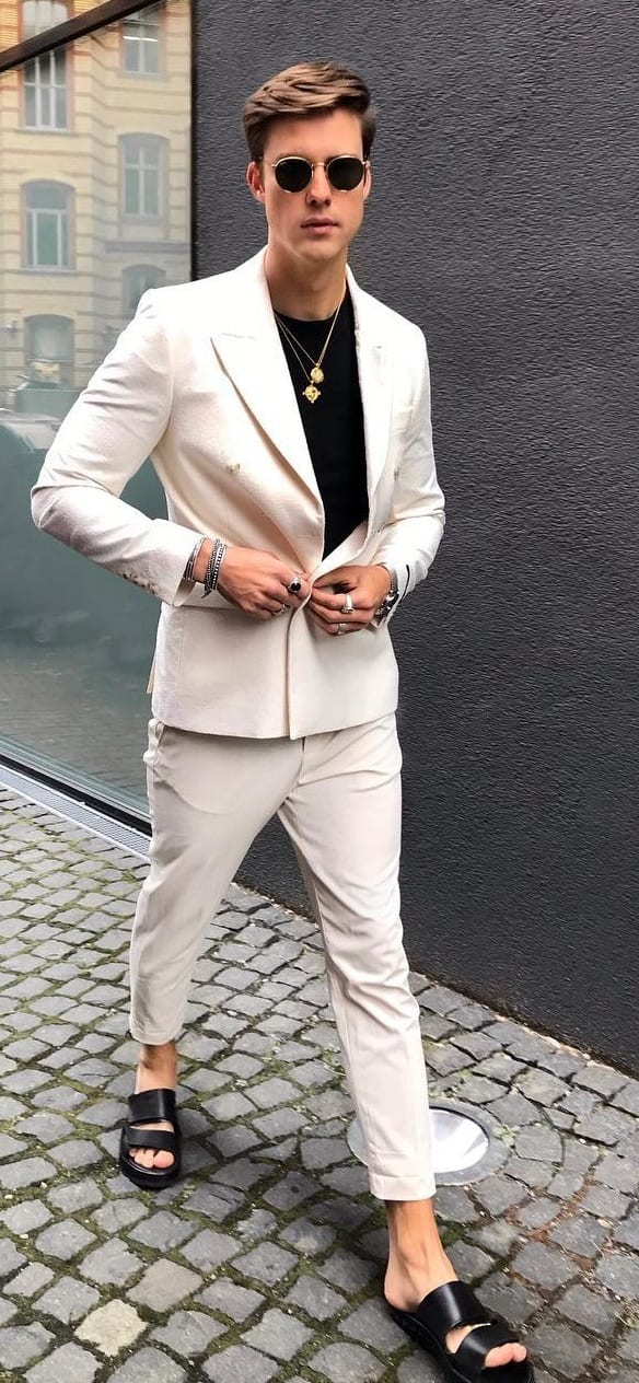 White suit clean shaved beard look